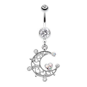 Tidal Moon Belly Ring - Dangling Belly Ring. Navel Rings Australia.