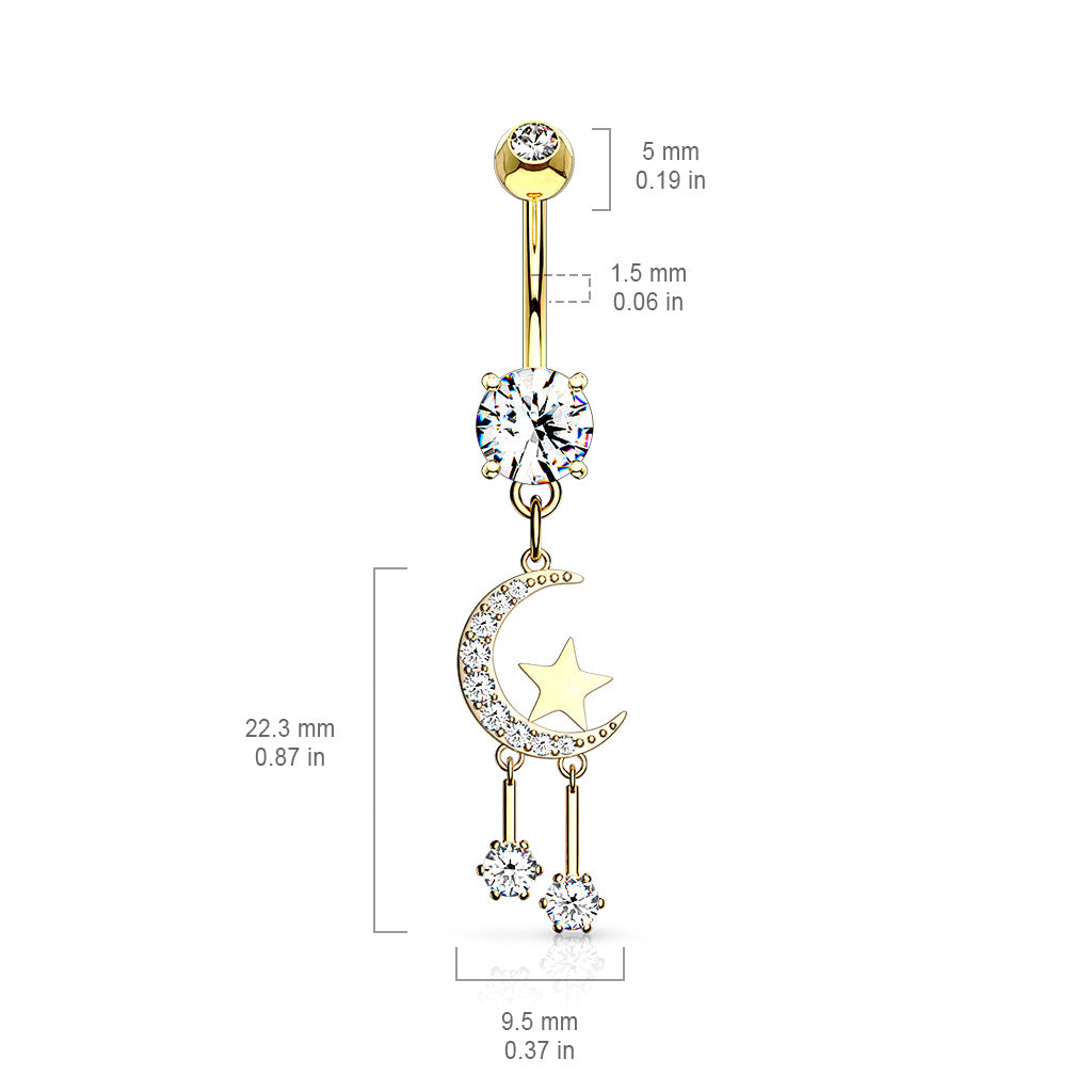 Dangling Belly Ring. Belly Bars Australia. Twinkle of the Moon Belly Dangle