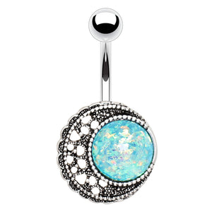 Opal Eclipse Belly Ring - Fixed (non-dangle) Belly Bar. Navel Rings Australia.
