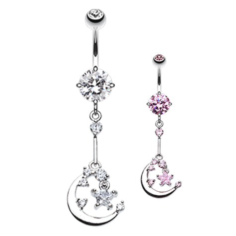 Dangling Belly Ring. Quality Belly Rings. The Luna Chandelier Belly Bar