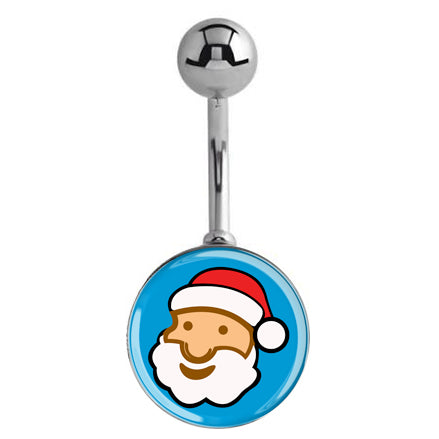 Moonlit Santa Christmas Belly Bar - Basic Curved Barbell. Navel Rings Australia.