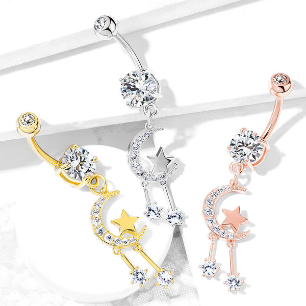 Twinkle of the Moon Belly Dangle - Dangling Belly Ring. Navel Rings Australia.