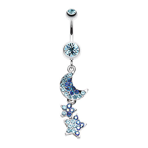 Indigo Blue Aurora Night Sky Belly Dangle