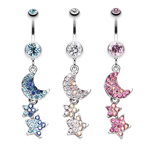 Aurora Night Sky Belly Dangle - Dangling Belly Ring. Navel Rings Australia.