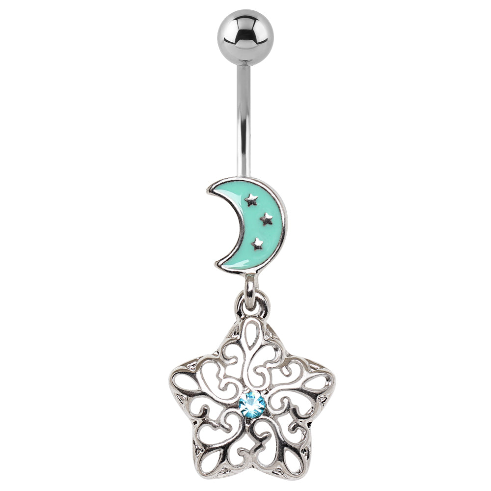 The Aquarian Moon Belly Dangle - Dangling Belly Ring. Navel Rings Australia.