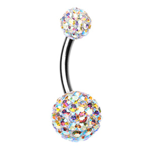 Milky Aurora Motley™ Belly Ring - Basic Curved Barbell. Navel Rings Australia.