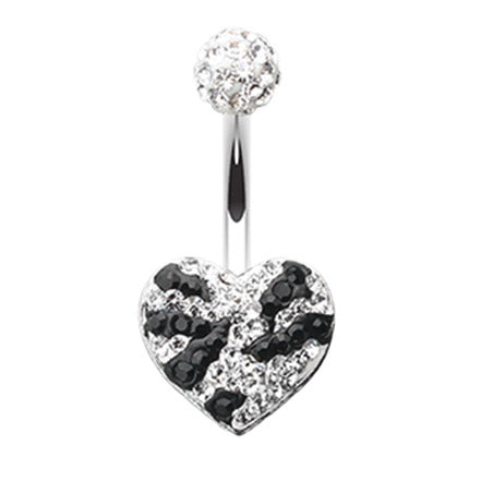Motleys™ Joie de Vivre Heart Belly Bar - Fixed (non-dangle) Belly Bar. Navel Rings Australia.