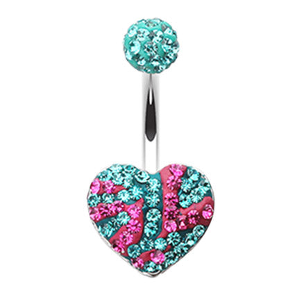 Fixed (non-dangle) Belly Bar. Quality Belly Bars. Motleys™ Joie de Vivre Heart Belly Bar