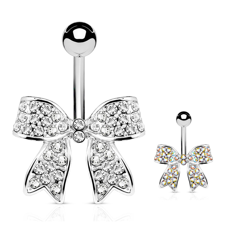 Motley™ Festiva Bow Belly Bar - Fixed (non-dangle) Belly Bar. Navel Rings Australia.