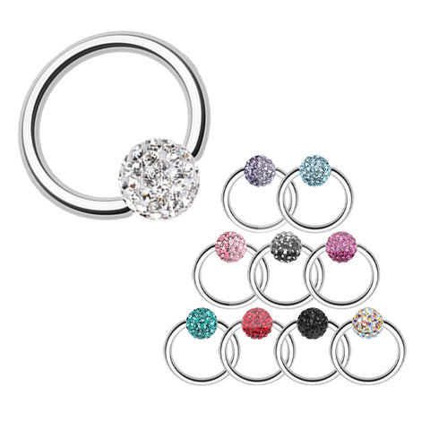 Five-Diamond Belly Ring with Offset Flower and Dangle