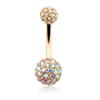Aurora Borealis Motley™ Half Dome Navel Ring in Gold