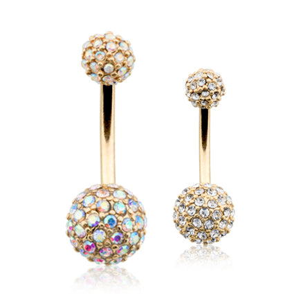 Internally Threaded Prong Set Belly Bar with Gold Plating