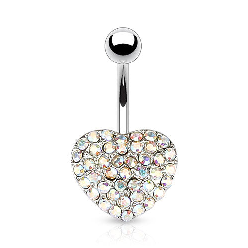 Fixed (non-dangle) Belly Bar. Quality Belly Rings. Oh So Sweet Motley™ Heart Belly Bars