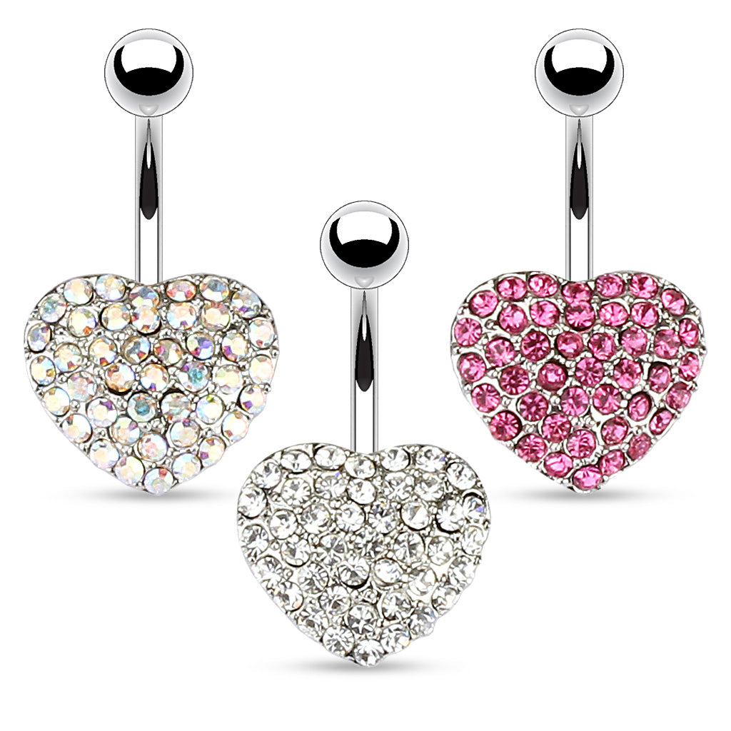 Oh So Sweet Motley™ Heart Belly Bars - Fixed (non-dangle) Belly Bar. Navel Rings Australia.
