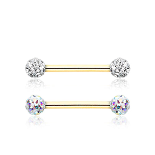 Gold Ice White Motley™ Nipple Ring - Nipple Ring. Navel Rings Australia.