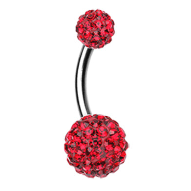 Basic Curved Barbell. Quality Belly Bars. Ravishing Red Motley™ Belly Rings