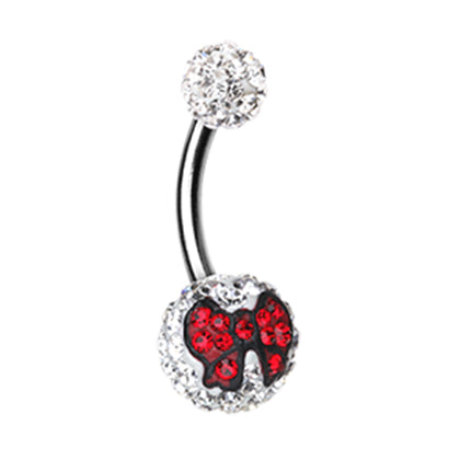 Motleys™ Ruby Sass Party Bow Belly Bar - Basic Curved Barbell. Navel Rings Australia.