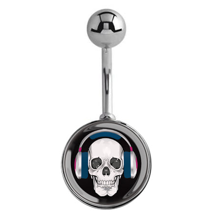 Totally Addicted to BASE Skull Belly Bar - Basic Curved Barbell. Navel Rings Australia.