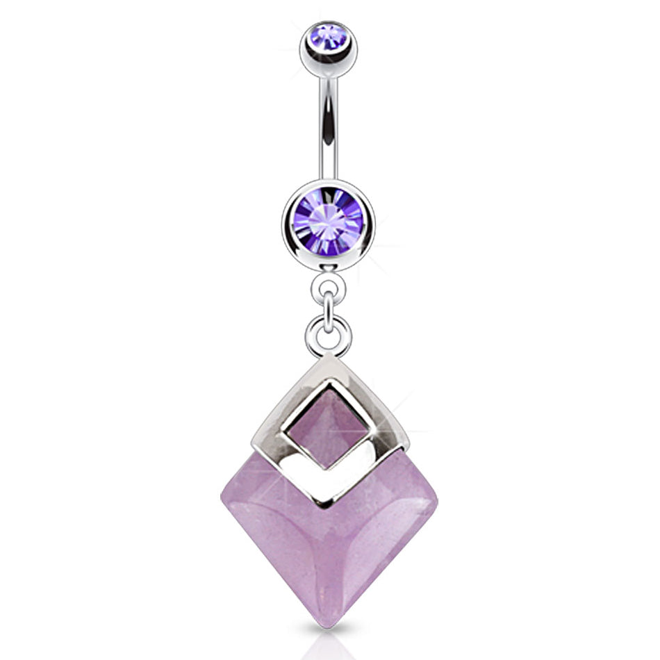 Natural Amethyst Stone Belly Button Ring - Dangling Belly Ring. Navel Rings Australia.