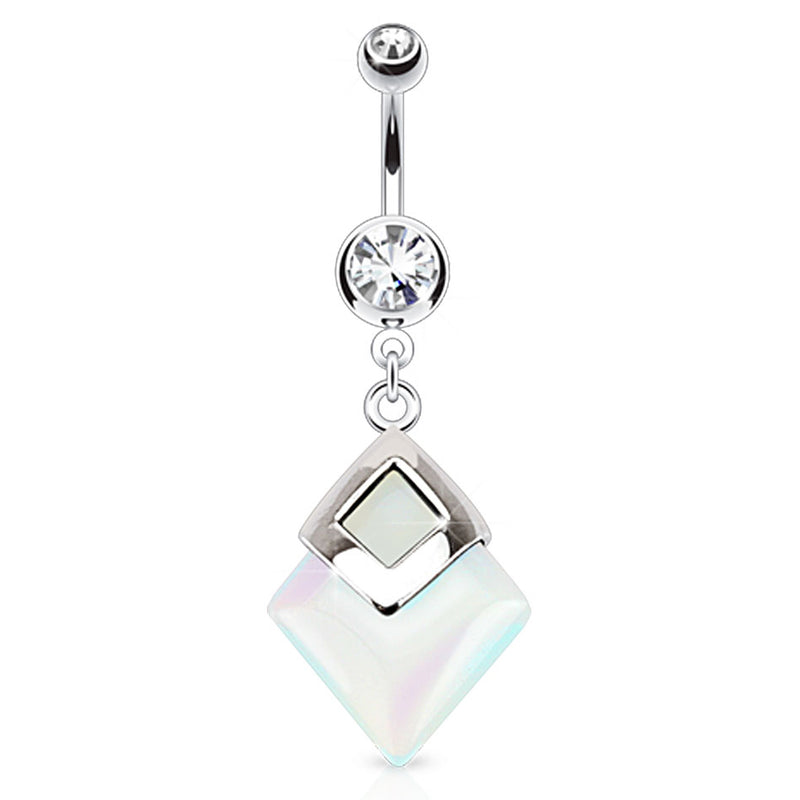 Semi Precious Opaline Dangly Belly Piercing Ring - Dangling Belly Ring. Navel Rings Australia.