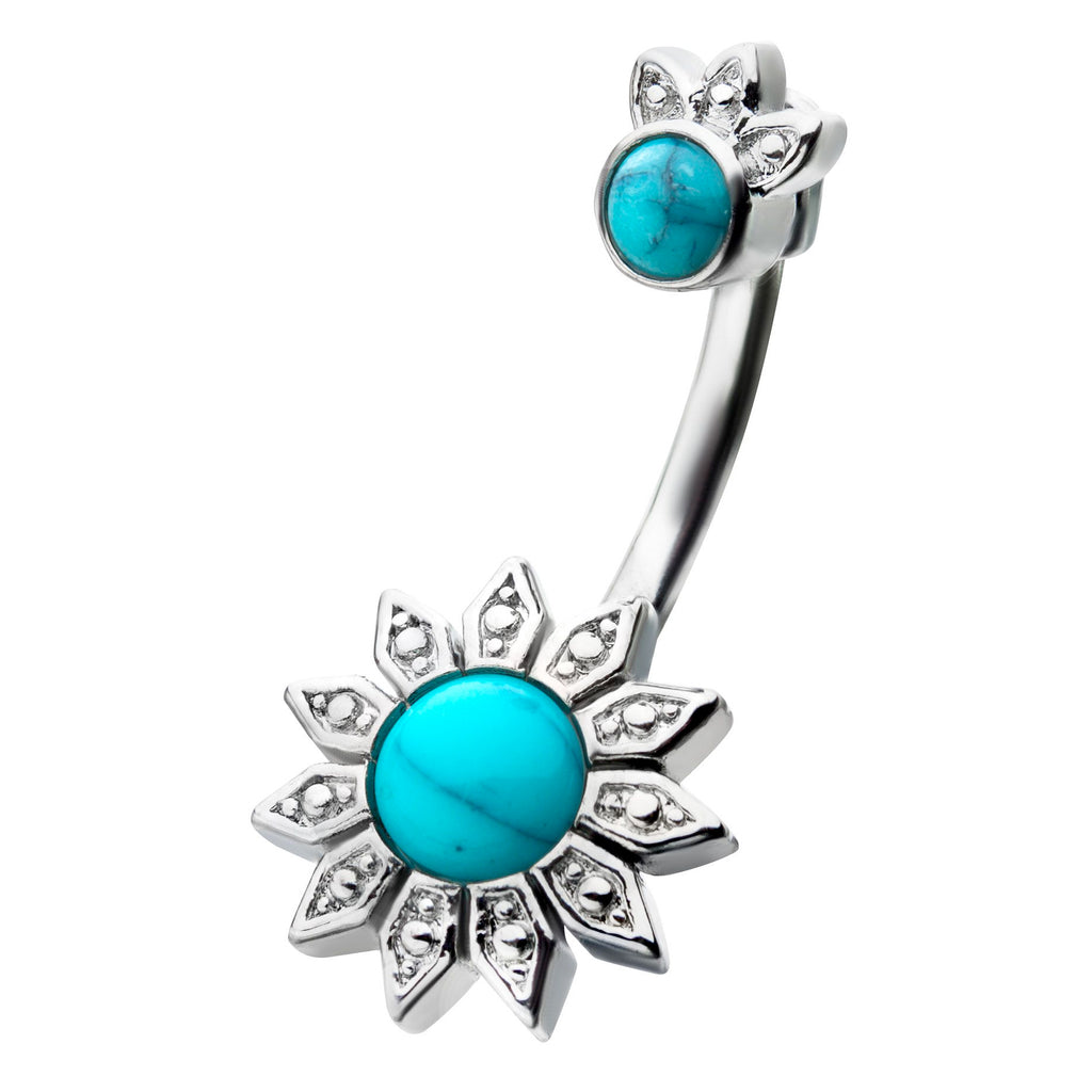 Split Spinal Belly Bar. Shop Belly Rings. Zialaya Crowned Turquoise Belly Bar