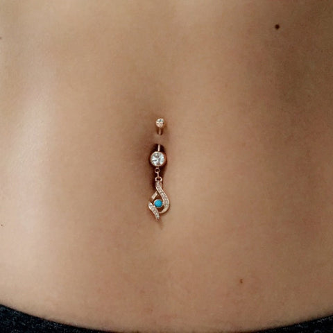 Möbius Gypsy Turquoise Belly Dangle - Dangling Belly Ring. Navel Rings Australia.