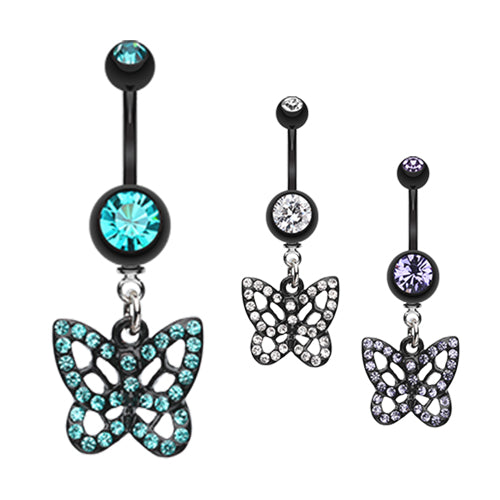 The Sparkilicious Butterfly Belly Ring - Dangling Belly Ring. Navel Rings Australia.