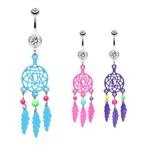 Dangling Belly Ring. High End Belly Rings. Neon Dream Catcher Belly Bars