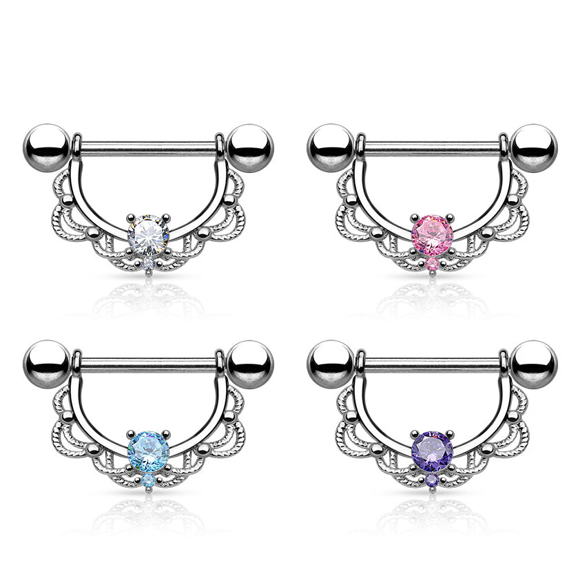 Monika Filigree Nipple Barbell - Nipple Ring. Navel Rings Australia.