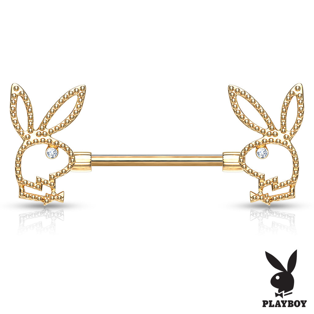 Crystal Paved Playboy Bunny Nipple Bar in Gold - Nipple Ring. Navel Rings Australia.