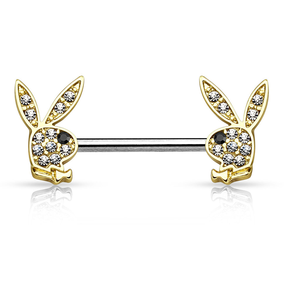 Motley™ Crystal Playboy® Bunny Nipple Bar in Gold - Nipple Ring. Navel Rings Australia.