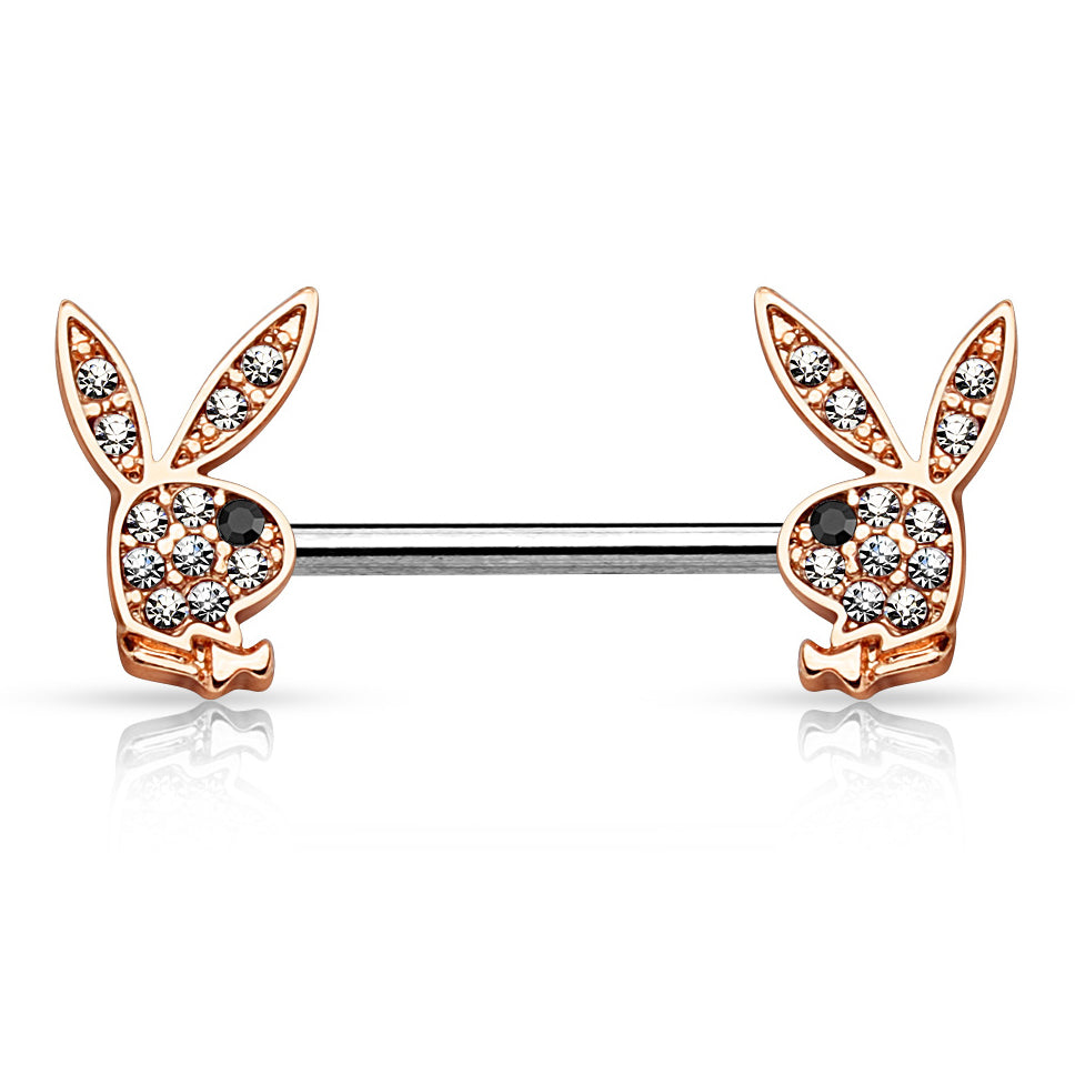 Motley™ Crystal Playboy® Bunny Nipple Bar in Rose Gold - Nipple Ring. Navel Rings Australia.
