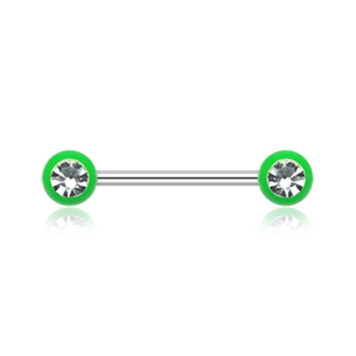 Vivid Gem Ball Nipple Barbell Rings - Nipple Ring. Navel Rings Australia.