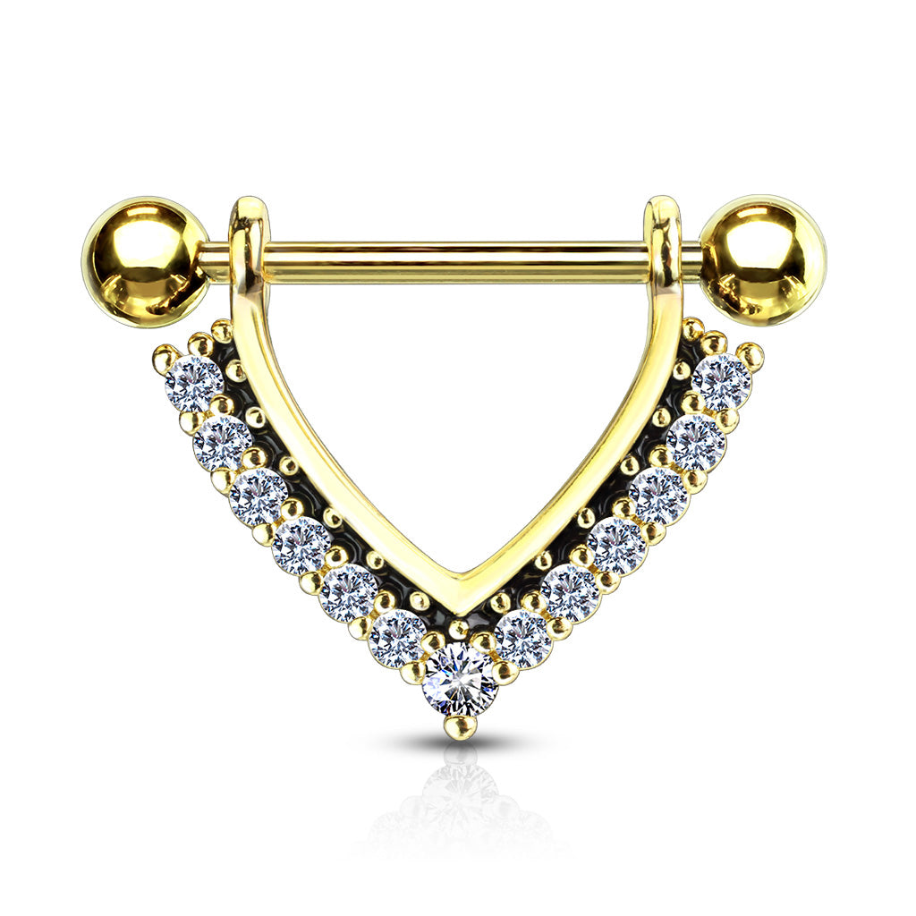 Midnight Jewels Nipple Barbell in Gold - Nipple Ring. Navel Rings Australia.