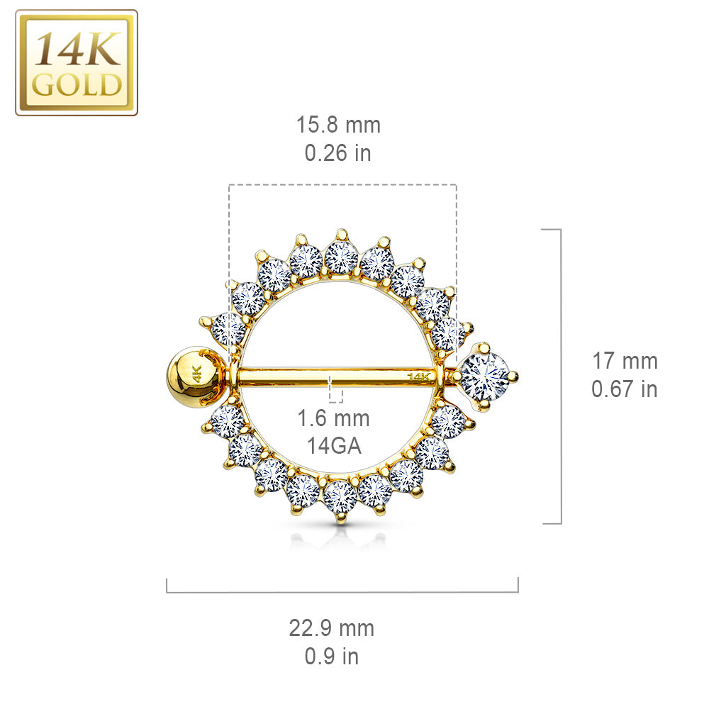 Nipple Ring. Belly Bars Australia. 14K Gold Sunburst Nipple Ring