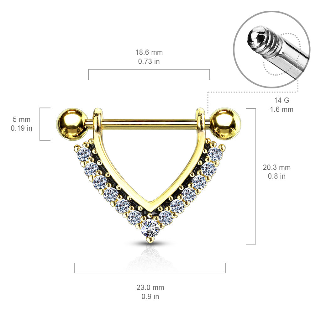 Nipple Ring. Navel Rings Australia. Midnight Jewels Nipple Barbell in Gold