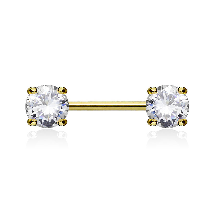 Classic Prong Celeste Nipple Ring in Gold - Nipple Ring. Navel Rings Australia.