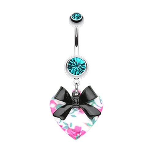 Paradisiacal Floral Heart Bow Belly Bar - Dangling Belly Ring. Navel Rings Australia.