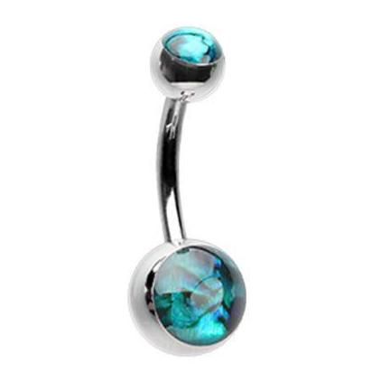 Ollie's Abalone Shell Belly Button Ring - Basic Curved Barbell. Navel Rings Australia.
