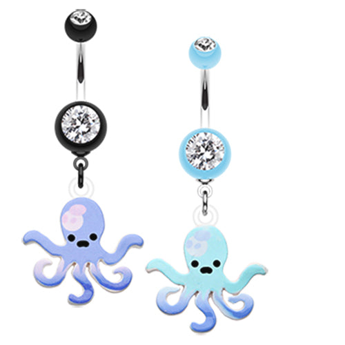 Blue Lagoon Octopus Navel Ring - Dangling Belly Ring. Navel Rings Australia.