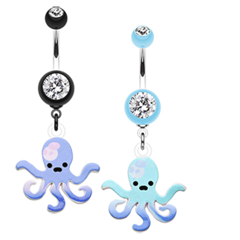 Dangling Belly Ring. High End Belly Rings. Blue Lagoon Octopus Navel Ring