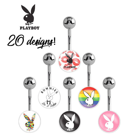 Basic Curved Barbell. Belly Bars Australia. Officially Licensed Playboy Bunny Logo Belly Bars