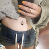 TummyToys® Silver Onyx Belly Piercing Ring - TummyToys® Patented Clasp. Navel Rings Australia.