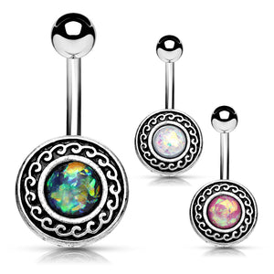 Xanthe Tribal Shield Belly Button Rings - Fixed (non-dangle) Belly Bar. Navel Rings Australia.