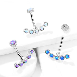 Opal Curve Internally Threaded Belly Bar - Basic Curved Barbell. Navel Rings Australia.