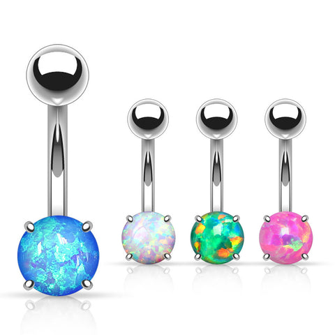 Basic Curved Barbell. Belly Bars Australia. Sabella Prong Opal Belly Ring
