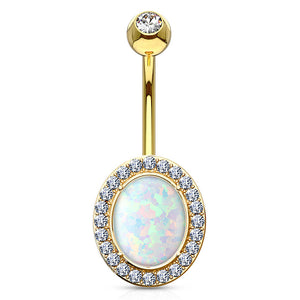Classic 14K Gold Opal Belly Ring - Fixed (non-dangle) Belly Bar. Navel Rings Australia.