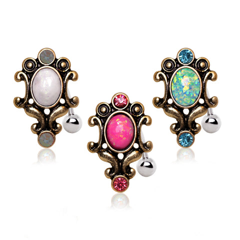 Reverse Top Down Belly Ring. Navel Rings Australia. Gitana Opal Reverse Belly Rings