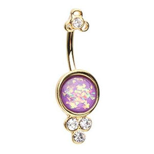 Golden Seraphina Crowned Opal Belly Ring - Fixed (non-dangle) Belly Bar. Navel Rings Australia.