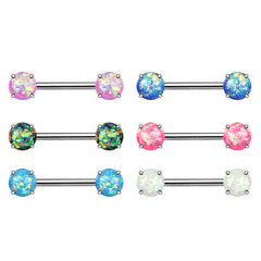 Classic Opal Prong Nipple Barbell Ring